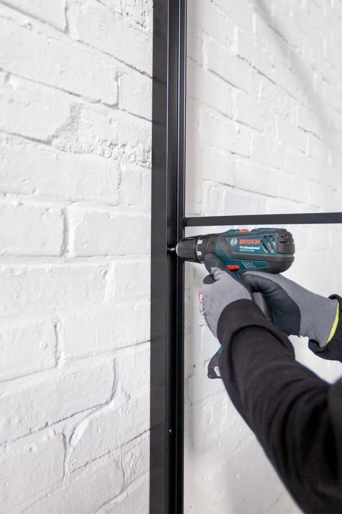 Loftstahl, Loft-Stahl.de - N51E12, Stahlrahmen, Lofttür, Konstruktion, Designtür, Stahlrahmen, Loft, Stahltür, Montage, Wandmontage, Glas
