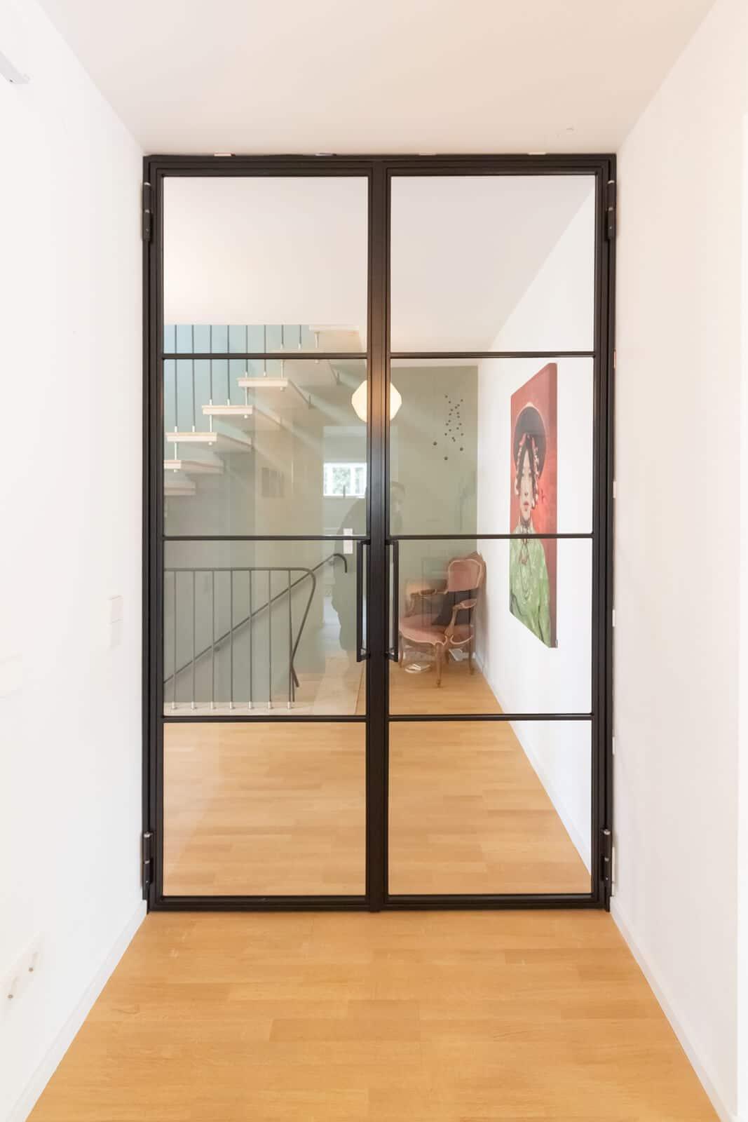 Loftstahl - Loft-Stahl, N51E12 , Design Doppeltuer, Drehtür, Sahltür, Stahl Loft Tür, Lofttür, Loftdoor, Glastür, Glastrennwand, Windfang, Bauhaustür, Industrial Door