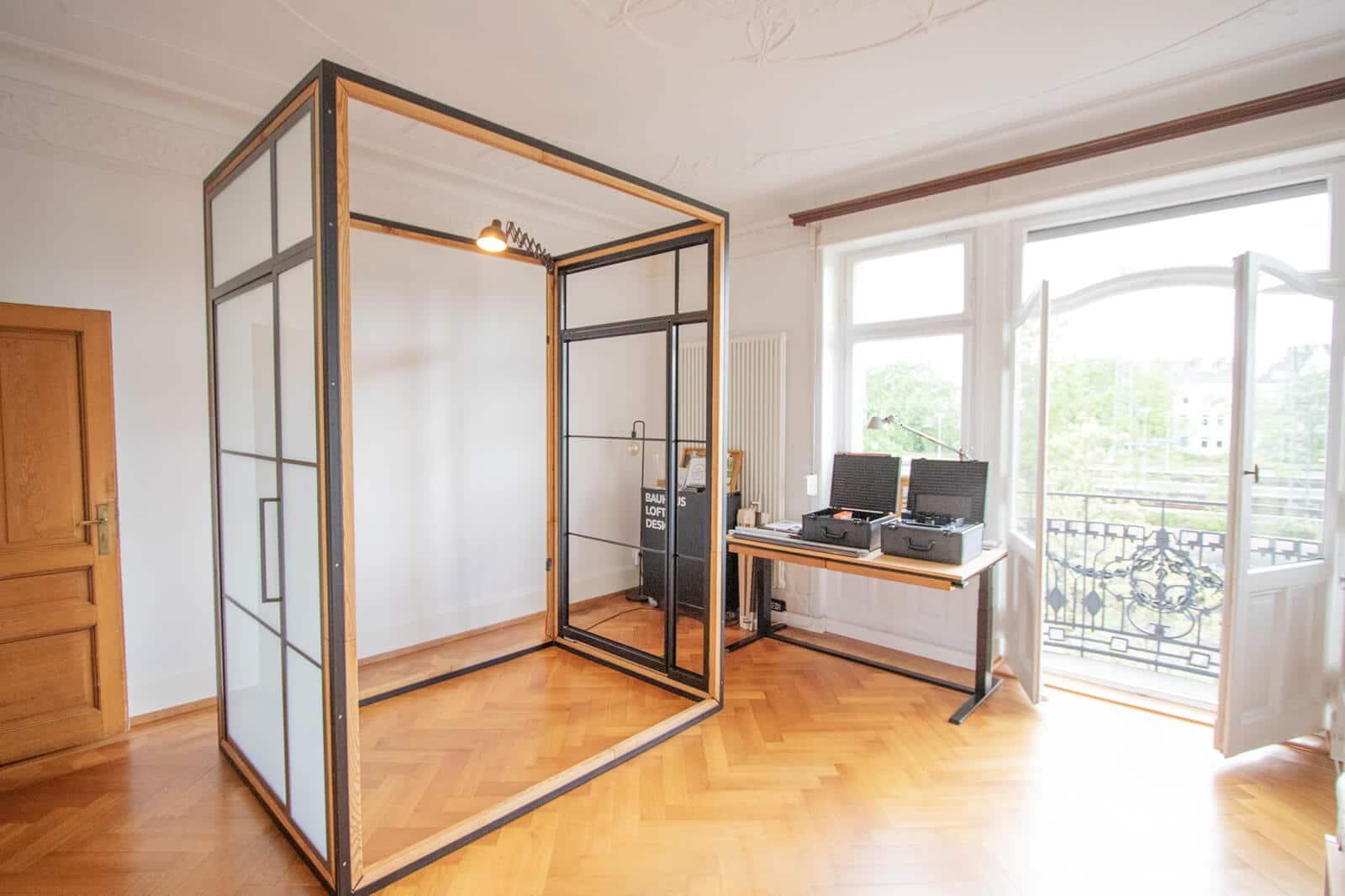 Loftstahl, Loft-stahl.de, N51E12, Showroom Offenbach, Frankfurt, Designbett, Stahl Loft Tür, Ausstellung, Office