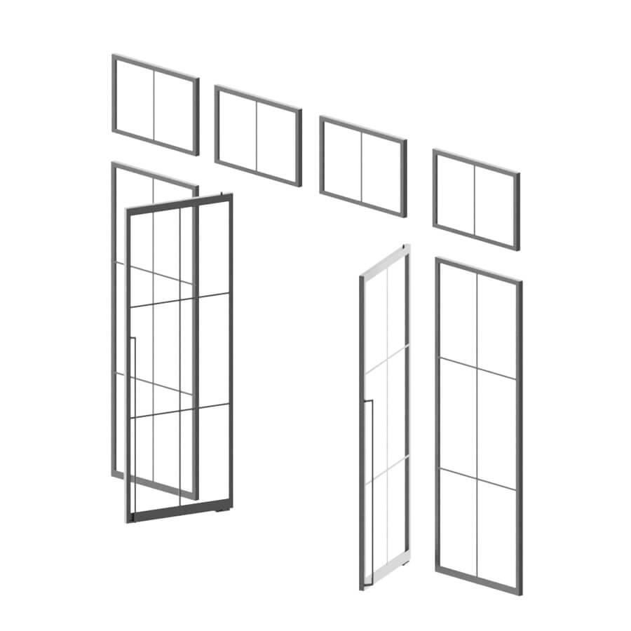 N51E12, Loftstahl, Loft-Stahl.de, Glastrennwand, Trennwand, Lofttür, Raumteiler, Konstruktion, Segment, Element, Modulbauweise