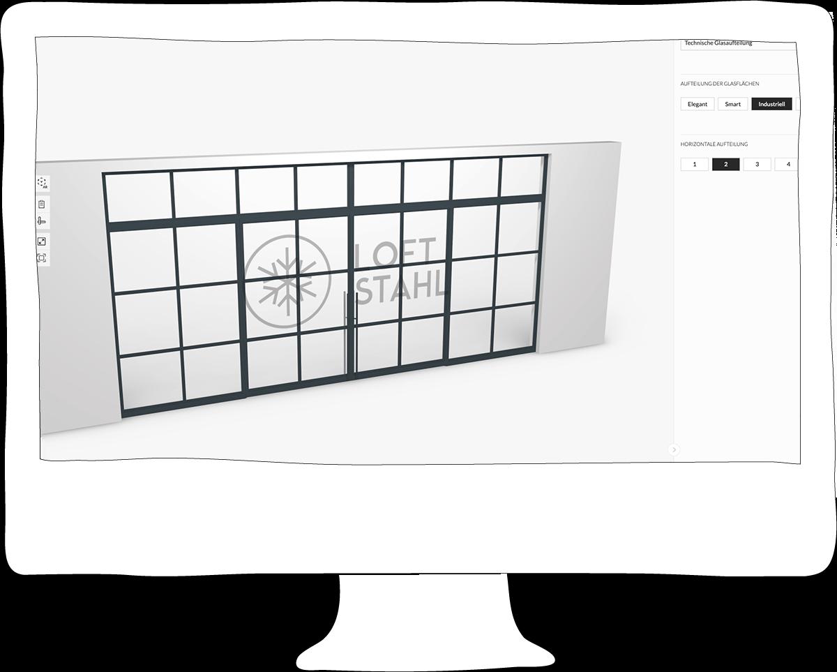 Loftstahl, Loft-Stahl.de - N51E12 Stahl Loft Tür, Darstellung, Konstruktion, Konstruktionszeichnung, Detail, Stahl, Profile, Konfigurator, 3D, Angebot, Darstellung, Mobile, App, Anfrageformular, Produktion, Hersteller, B2B, Geschäftskunde, Referenzen, Portfolio