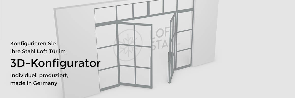 Loft-Stahl.de Stahl Loft Tür, 3D Konfigurator, Banner, Geschäftskunden, B2B, Partner, Produktion, Hersteller